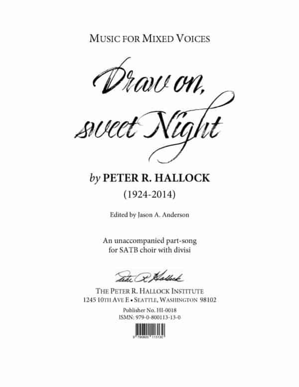 Draw on, sweet Night